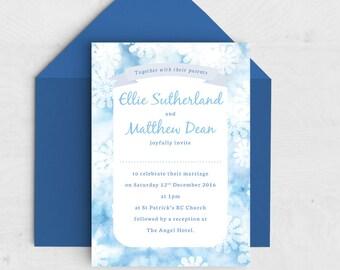 Snowfall Wedding Invitation - Winter Wedding - Snowflake Invitation