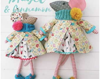 Cloth Dolls Mice 'Mabel & Cinnamon' with clothes and accessories PDF Sewing Pattern