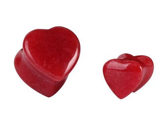 SALE 15% Red Quartz Heart Ear Plug, Ear Stretchers, Stone Plugs, Ear Plugs