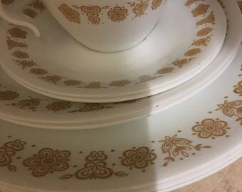 13 pieces....Assortment of Corelle Butterfly Gold  dishes...Replacement pieces
