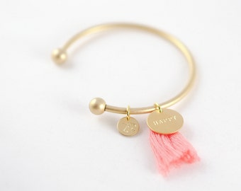 HAPPINESS - Gold Plated Charm Bracelet