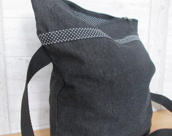 Shoulder bag envelope bag black zipper dots
