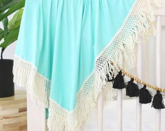 Aqua Fringe Boho Newborn Swaddle   Fringe Trim Newborn Receiving Blanket   Solid Aqua Soft Swaddle Blanket