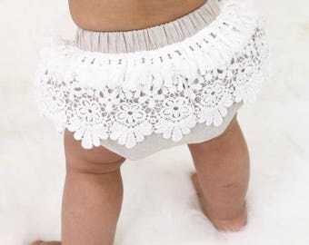 Linen and Vintage Fringe Baby Bloomers | Linen, Ivory, Taupe, Lace, Fringe, Vintage, Boho, Baby Girl Diaper Cover