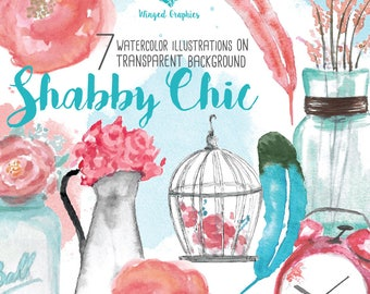 shabby chic/ cottage chic handpainted digitilised watercolor clipart : mason jar flower floral cage feathers old clock
