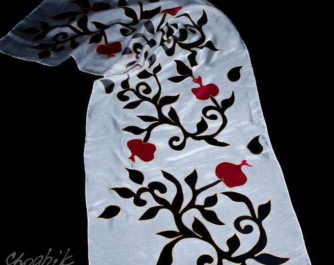 Hand Painted Silk Scarf - Batik - Armenian silk scarf - Pomegranate - Red, Black, White - Armenian Gift