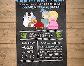 knight birthday invitation, knight invitation with dragon horse castle, fairytale knight and princess party invites digital or printed