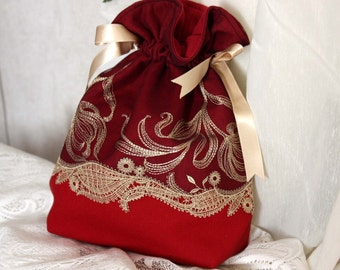 Burgundy bag, pouch, black, gold, embroidered tulle cotton fabric, ivory satin ribbon, french touch