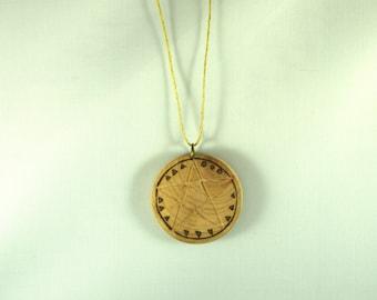"Arcana Naturae pendant - ""Morgane, the Mystic"" - wood and semi-precious stones"