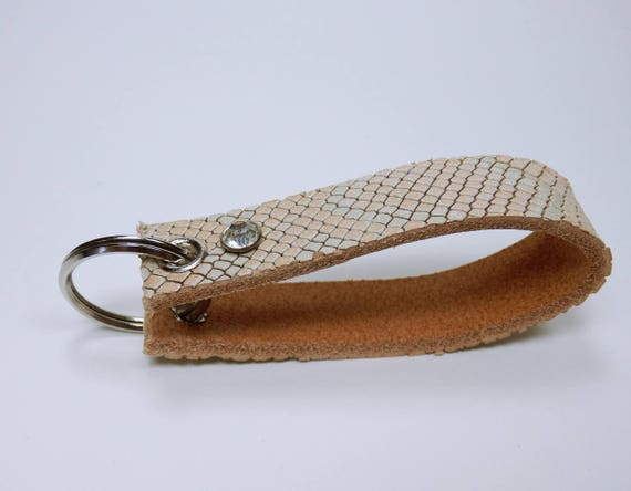 Key ring leather snake skin optics in pink and green pocket pendant keychain for keychain, snake