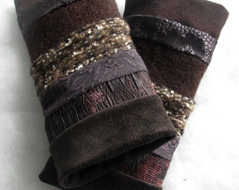 pulse warmers gauntlet gloves arm wrist warmers brown