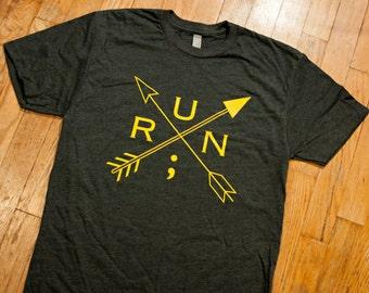 Running for Mental Health - Men's T Shirt - Men's Tee Shirt - Semicolon Shirt - Running Shirt - Mental Health Awareness Shirt