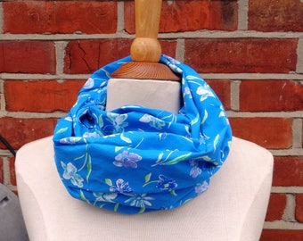 Blue Spring Flowers Fabric Infinity Scarf, Infinity Scarf, Ladies Scarves, Loop Scarf, Womens Scarves, Circle Scarf, Tube Scarf, Gift Idea