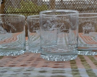 4 vintage glass tumblers whiskey glasses - The Melbourne Collection