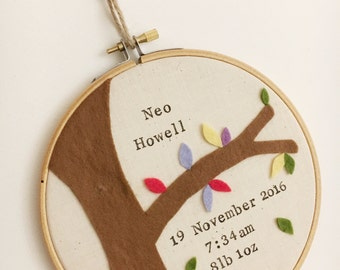 Personalised Birth Details and Tree Wall Hanging - Naming Hoop