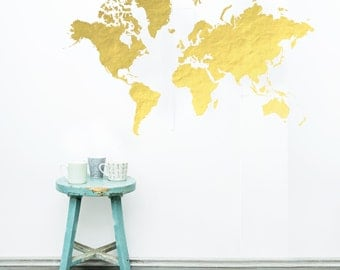 World Map Wall Stencil
