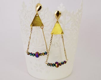 Long earrings,iridescent beads earrings, chain and beads earrings, triangle earrings, triangle and iridescent beads earrings