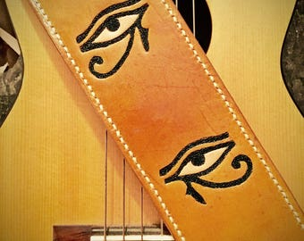 Eye of Horus Custom Leather Guitar Strap Cool Anniversary Gift