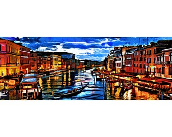 Venice Art Print, Grand Canal art, Colorful Italy Painting