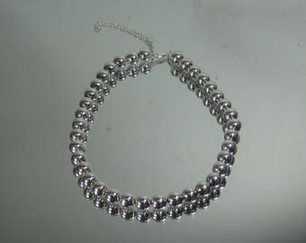 "Vintage Sterling Silver Beaded Choker Necklace 15"" Milor 3-8-17"