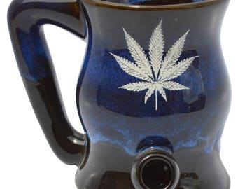 Garcia Blue Wake -n- Bake Mug with White Leaf Design