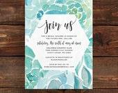 watercolor succulent invitations // bridal shower or party invites // blue green aqua watercolor // calligraphy //printable custom invite