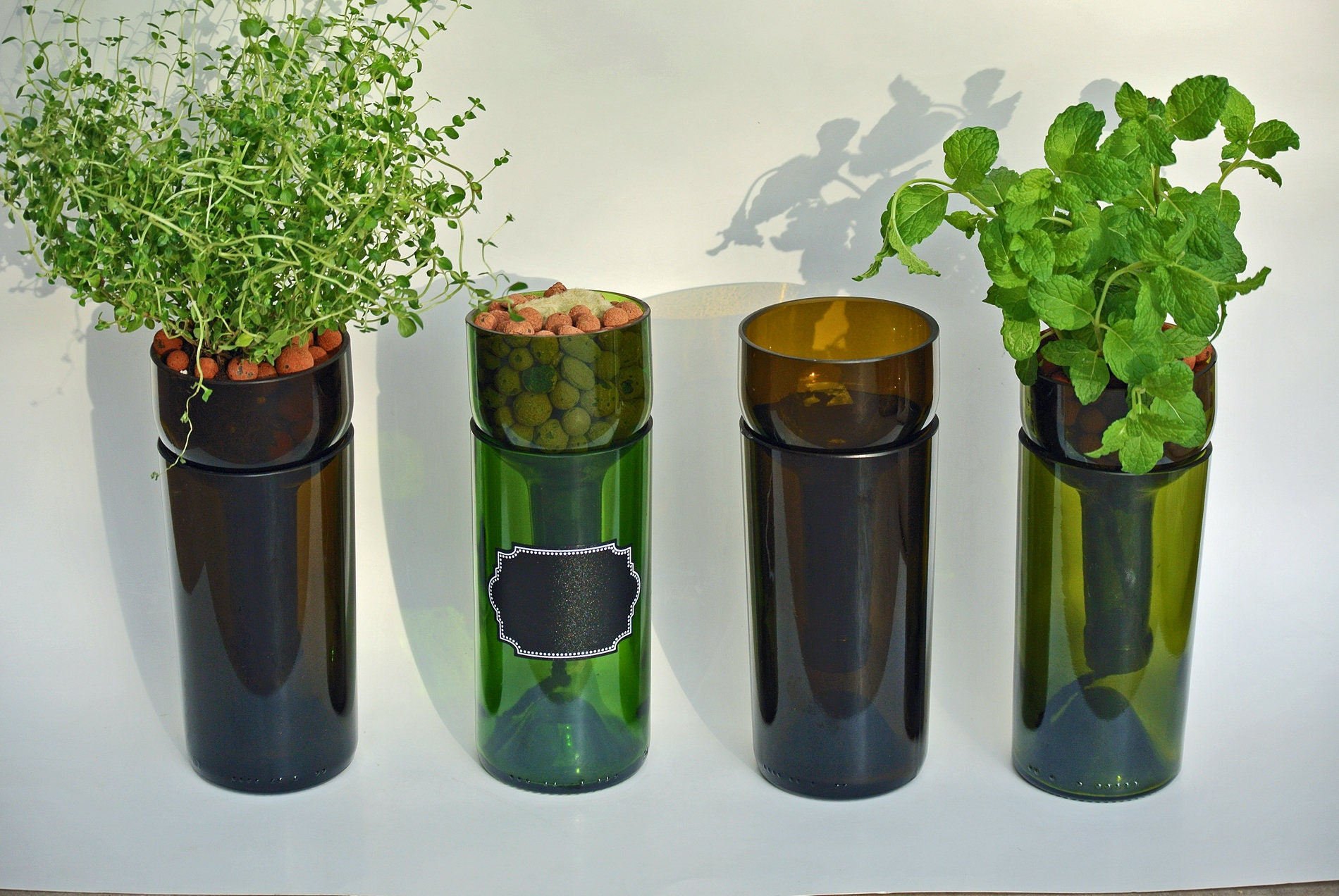 Hydroponic Kitchen Herb Garden Self Watering Hydroponic Garden Gift Wine Bottle Indoor Herb