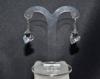 Earrings silver 925 and heart Dévoted U 2 crystal of Swarovski light comet silver