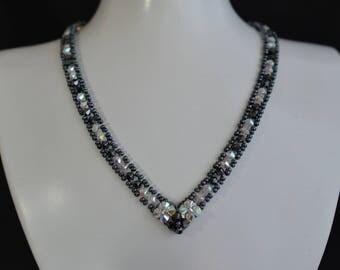 "Swarovski crystal ab2x crystal necklace ""Creek"" - hematite 2x"