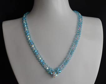 "Swarovksi crystal ab2x crystal necklace ""Brook"" - aquamarine ab2x"