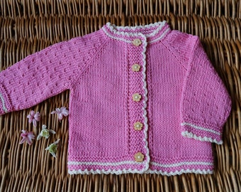 Baby knitted sweater. Newborn cardigan. Knitted baby shower. Hand Knit Sweater. Organic cotton or merino/cashmere  jacket. Pink cardigan.