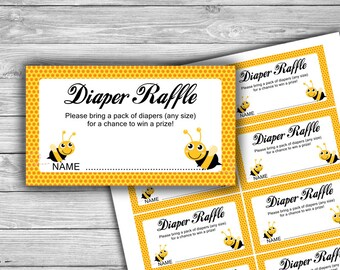 Bumble Bee - Baby Shower - Diaper Raffle - Cards - Tickets - PRINTABLE - INSTANT DOWNLOAD - Baby Bee Game - 070
