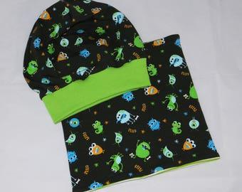 Beanie + loop set Monster black green KU 51-54