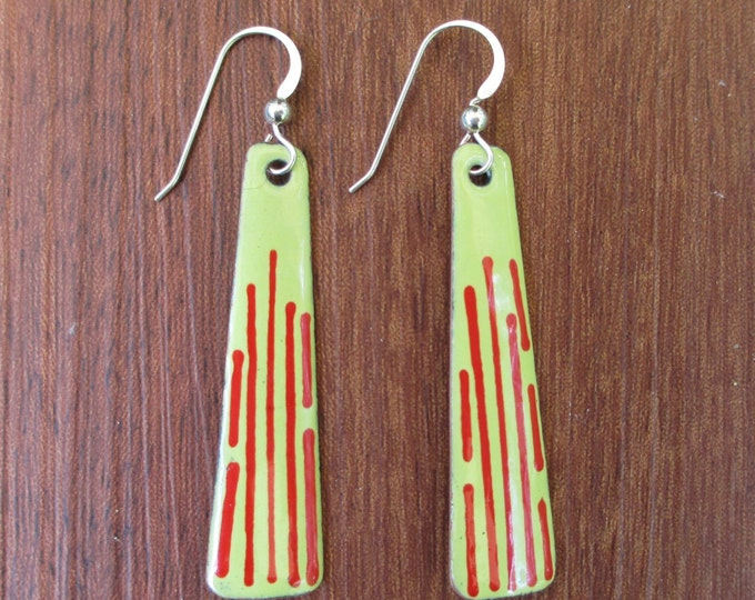 handmade yellow enamel dangle earrings with red lines and sterling silver ear wires.
