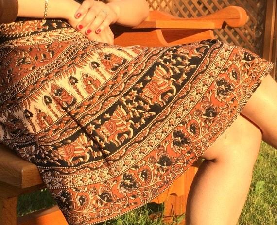 Short Wrap skirt, Summer skirt, Beach wrap skirt, Ethnic Skirt, Bohemian wrap skirt, ethnic skirt, xmas gift for her, small skirt