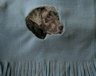 Embroidered Weimaraner Fleece Scarf