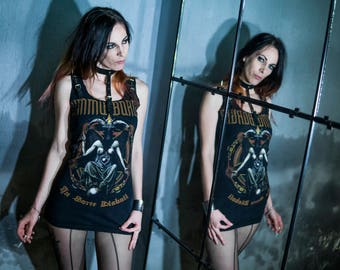 FREE SHIPPING! Handmade Dimmu Borgir T-shirt/Dress With Leather Choker and Spikes