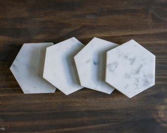 "4"" Carrara white marble hexagon coasters. Set of 4 white marble coasters. natural marble. home decor wedding decor housewarming"