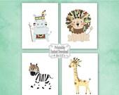 SALE Printable Tribal Jungle Safari Animals Nursery Wall Art Decor Lion Zebra Giraffe Hippo Baby Child Kids ~ DIY Instant Download 4 8x10 Pr