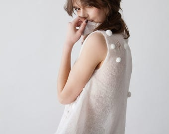 WHITE FLAVOUR TOP - hand knitted kid mohair silk transparent white soft knit