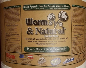 """Warm & Natural Cotton Batting - 90"""" Wide - Sold By the Yard"""