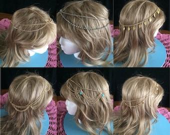 Hair Chain Jewelry, Bohemian Hair Chain, Boho Head Chain, Headpiece, Hairpiece, Hair Chain, Hair Jewelry, Headband
