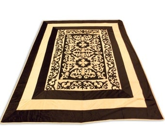Silk Velvet Mughal Design Brown Color Double Bed Cover 260x240 CM