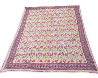 Double Bed Hand Block Printed Pink Color Quilt in Floral Design Size 90x108 Inch