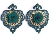 Dark green lace earrings