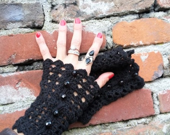 Black Summer Fingerless Gloves Gauntlets Burlesque Renaissance Festival Steampunk Mittens Claire Outlander Inspired Bohemian Gothic