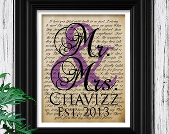 Housewarming Gift for Newlyweds | Valentines Day Bride Groom Wedding Decor | Custom Names Wedding Date | Purple Mr Mrs | 1st anniversary