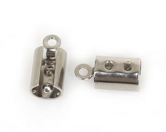 10Pcs 1,2,3or4mm wide Cord Stainless Steel Crimp End Caps Buckle for Necklace (239)