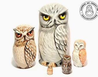Owl Big Nesting Dolls 15,5 cm, Matryoshka russian Nesting Dolls 5 pcs, Kids Gift, Animal Nesting Toys, Room Decor, Gift for Mom, Owl Decor