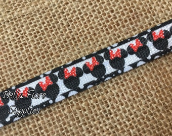 Minnie Mouse Fold Over Elastic- Mickey Mouse FOE- Fold Over Elastic- Wholesale Elastic- DIY Headband- By The Yard